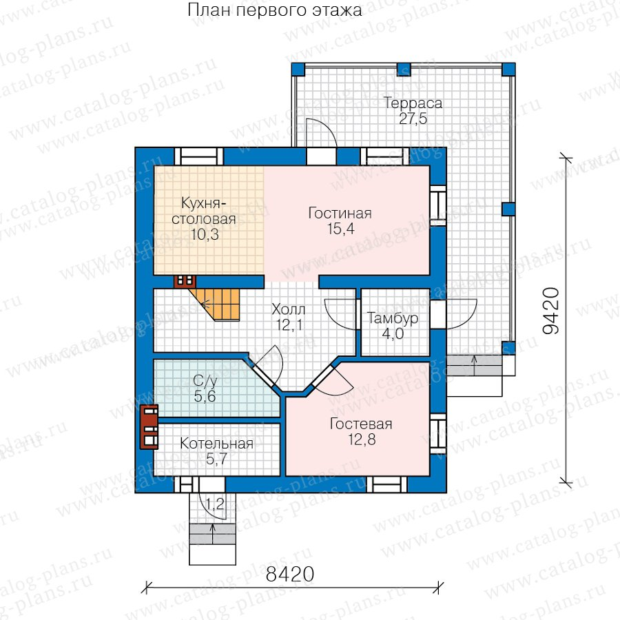 План 1-этажа проекта 58-96