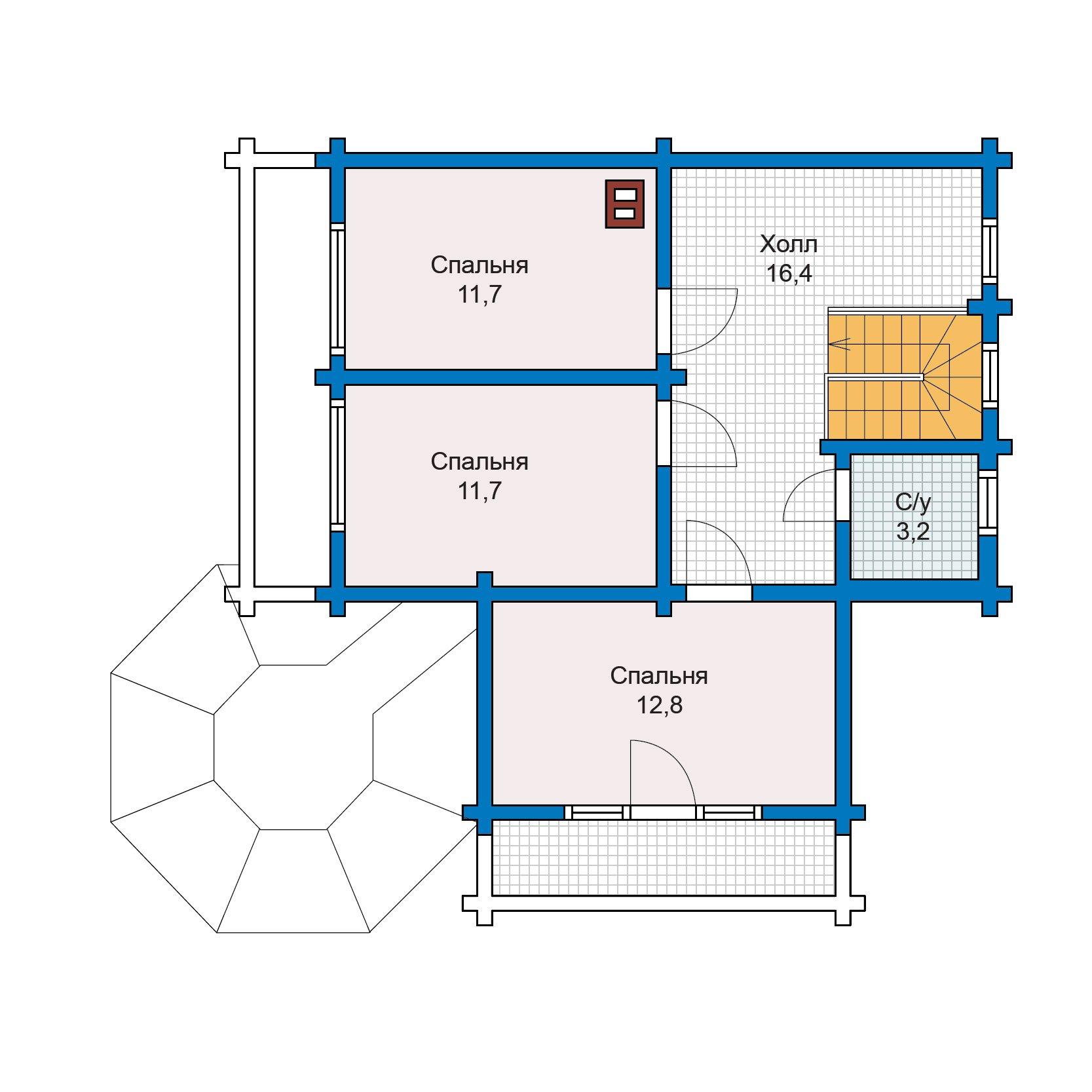 План 2-этажа проекта 13-25