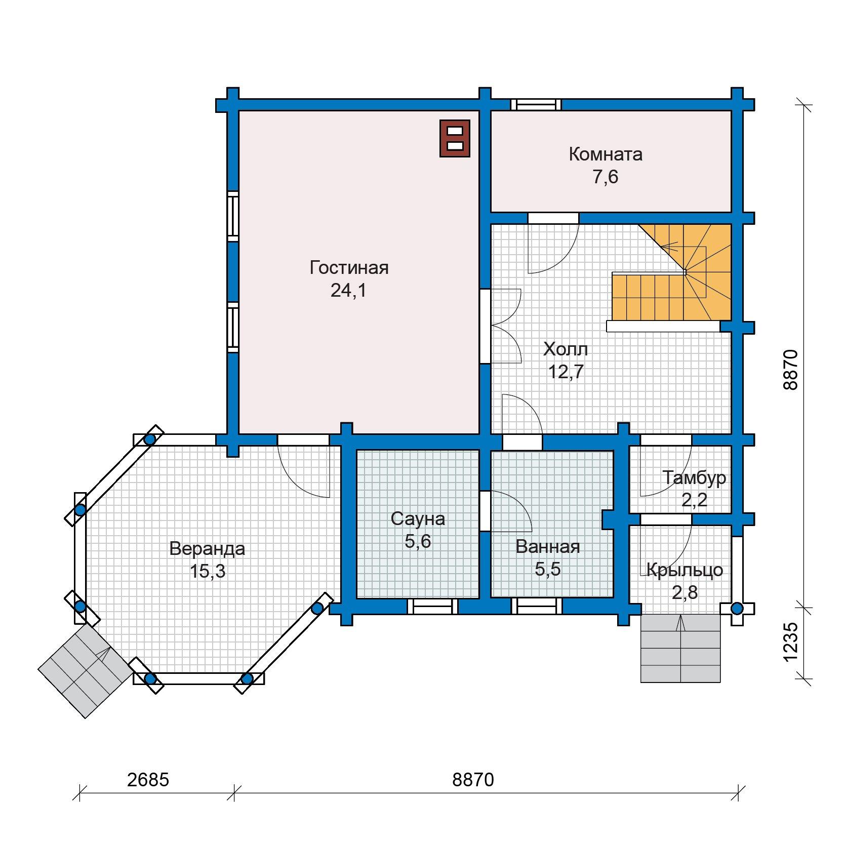 План 1-этажа проекта 13-25
