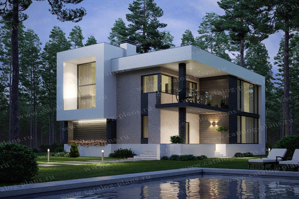 Проект жилой дом #40-93 материал - кирпич, стиль хай-тек