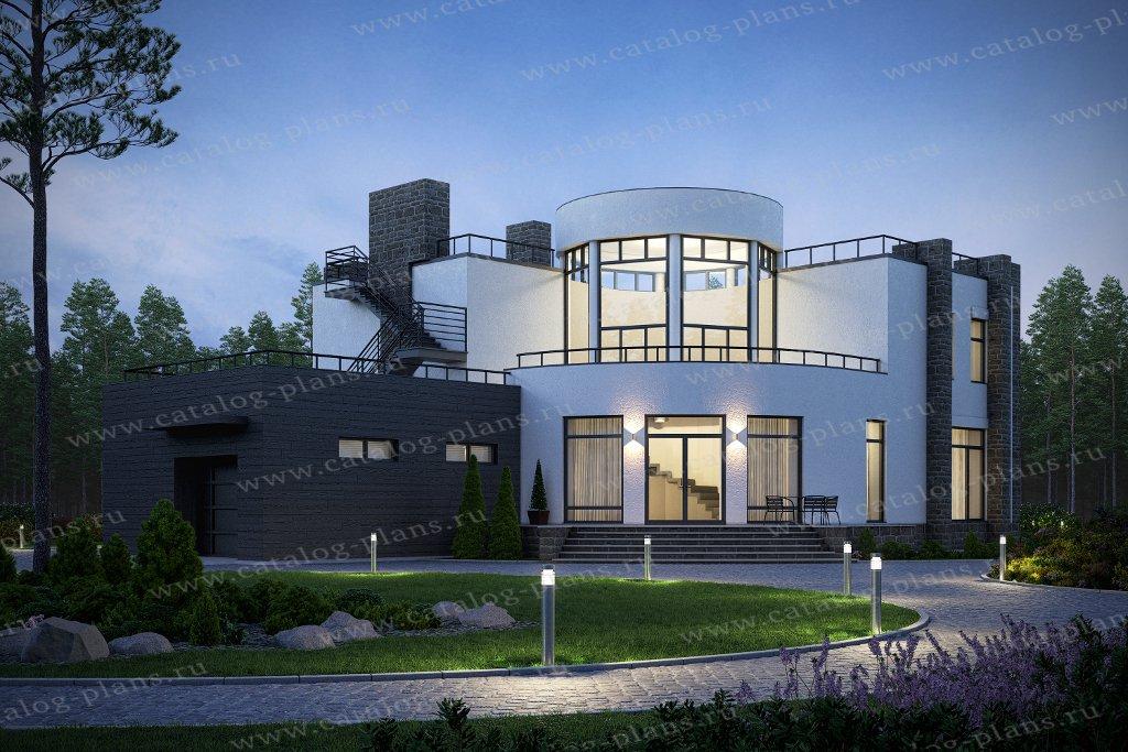 Проект жилой дом #40-89A материал - монолитный каркас, стиль хай тек