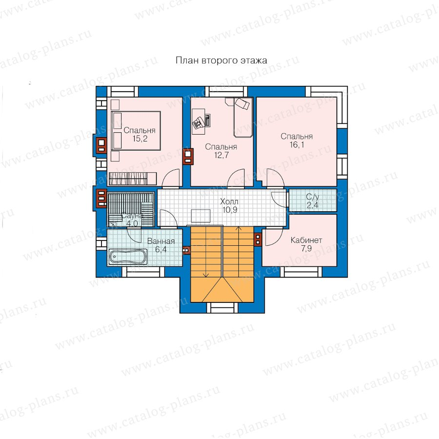 План 2-этажа проекта 40-91L