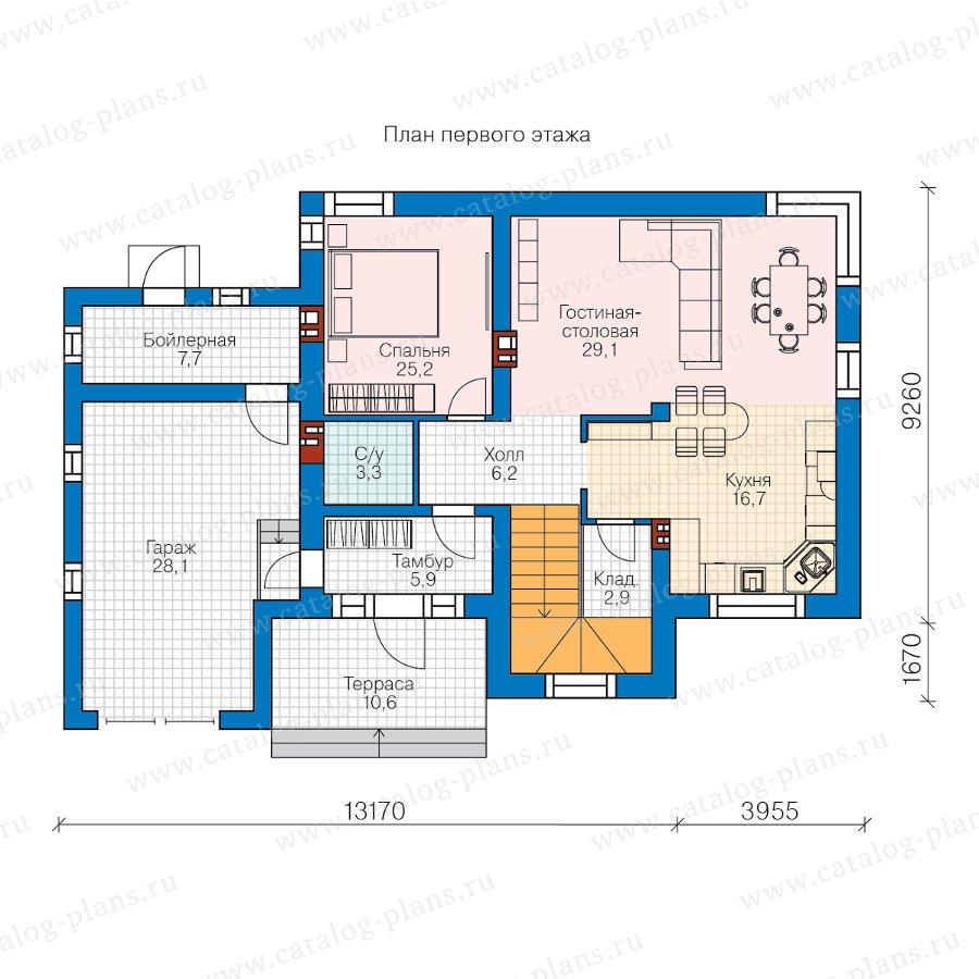 План 1-этажа проекта 40-91L