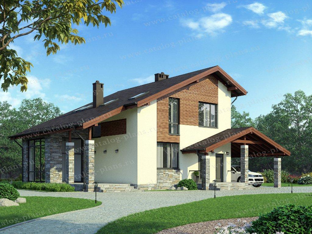 Проект жилой дом #55-47 материал - газобетон, стиль современный