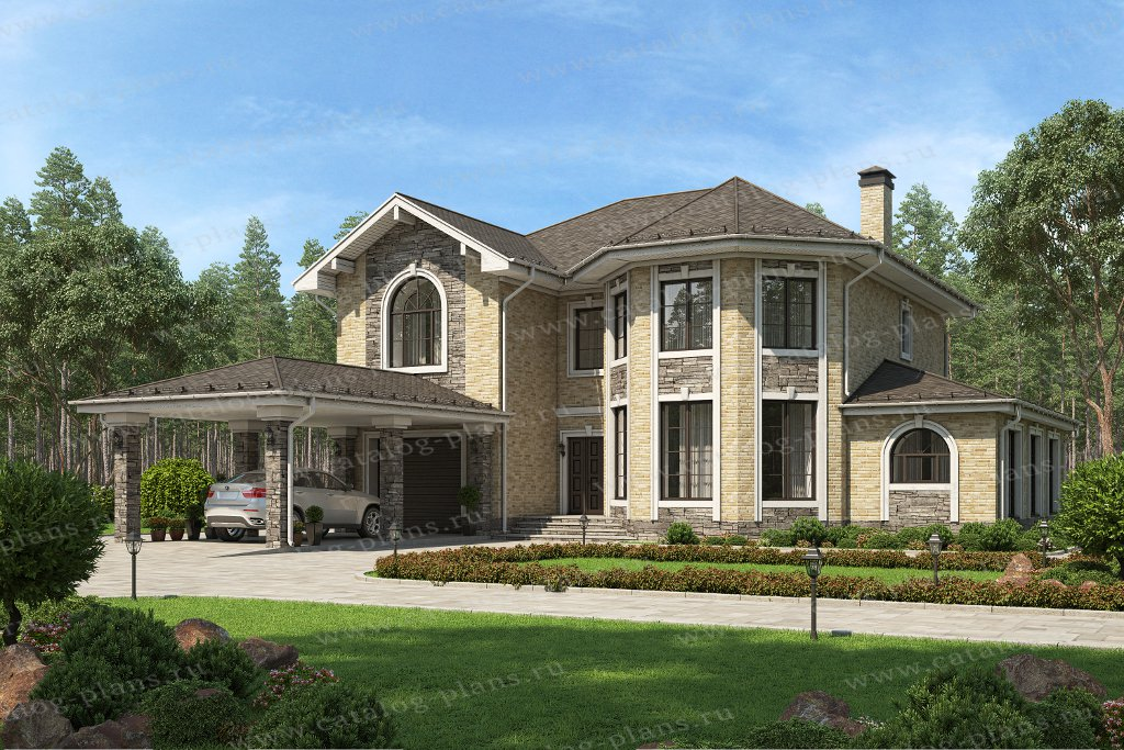 Проект жилой дом #58-43AL материал - газобетон, стиль европейский