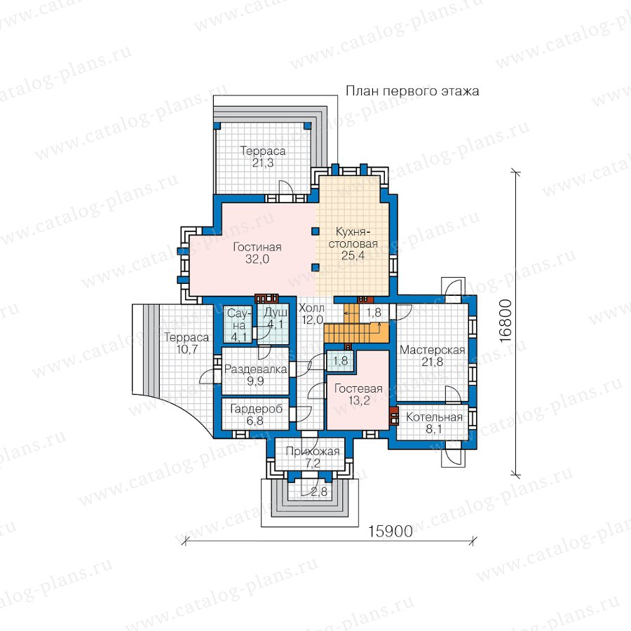 План 1-этажа проекта 58-87B