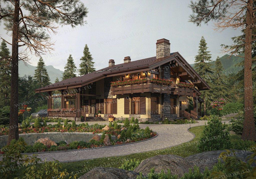 Проект жилой дом #62-15 материал - газобетон, стиль шале