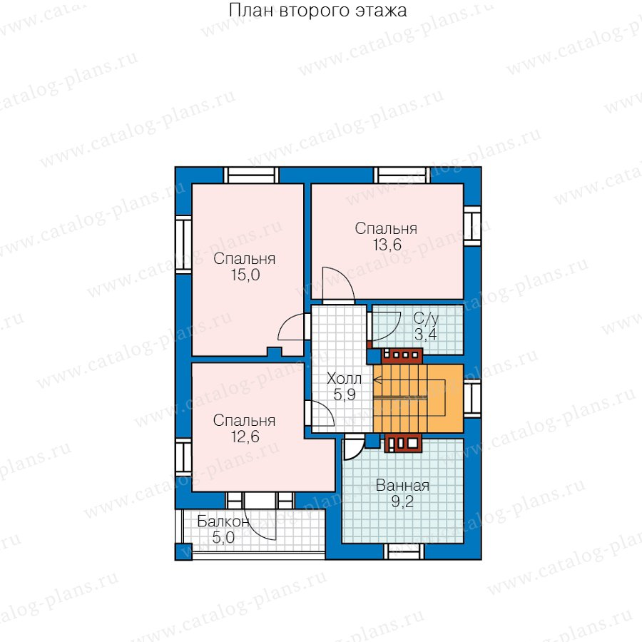 План 2-этажа проекта 57-07DКедрал