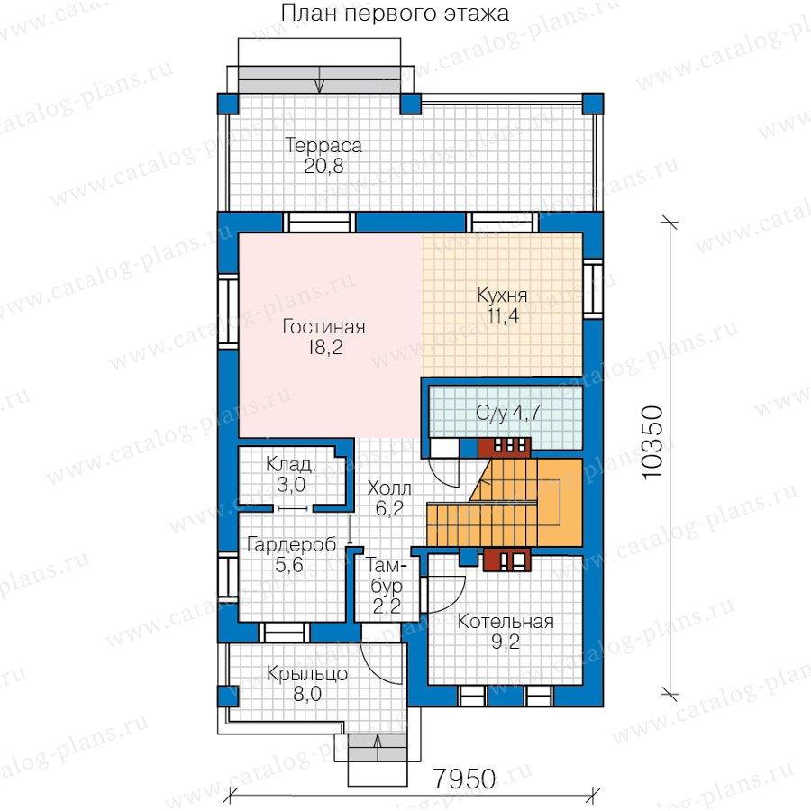 План 1-этажа проекта 57-07DКедрал