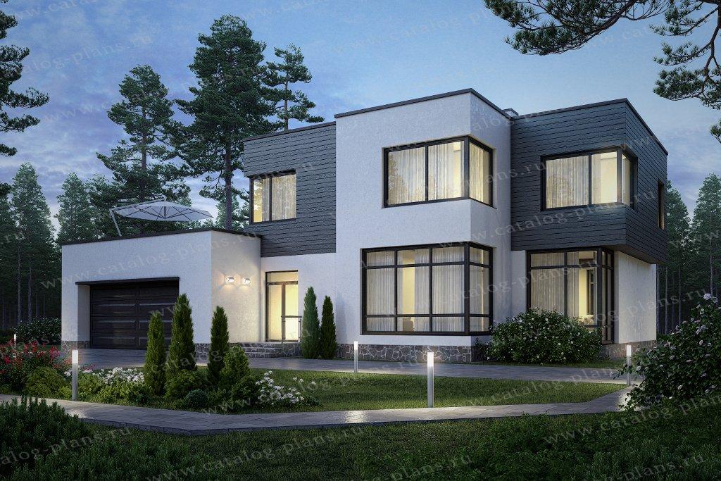 Проект жилой дом #62-16 материал - газобетон, стиль хай-тек