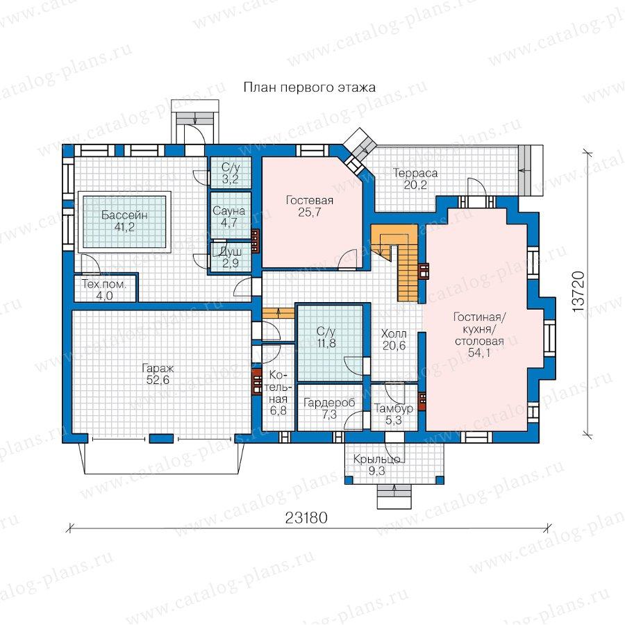 План 1-этажа проекта 40-74A