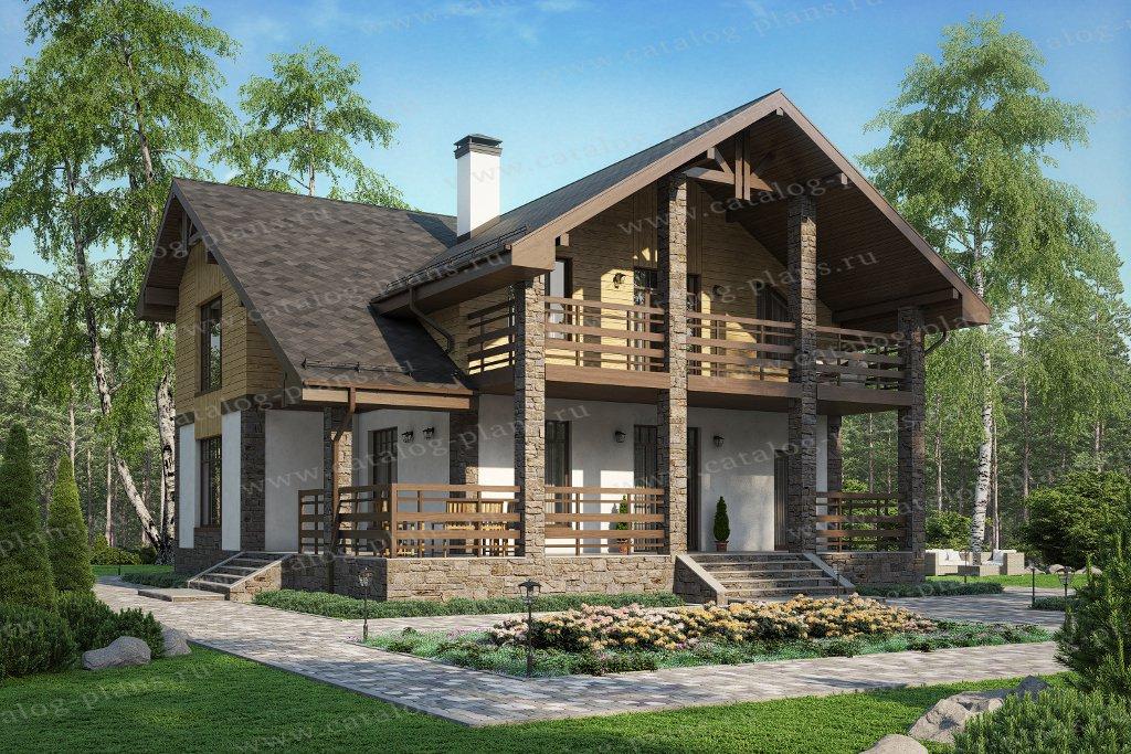 Проект жилой дом #45-00 материал - кирпич, стиль