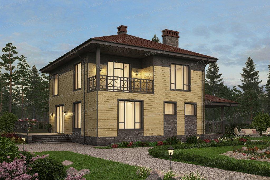 Проект жилой дом #57-50Кедрал материал - газобетон, стиль европейский