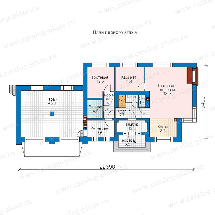 План 1-этажа проекта 40-86AGL