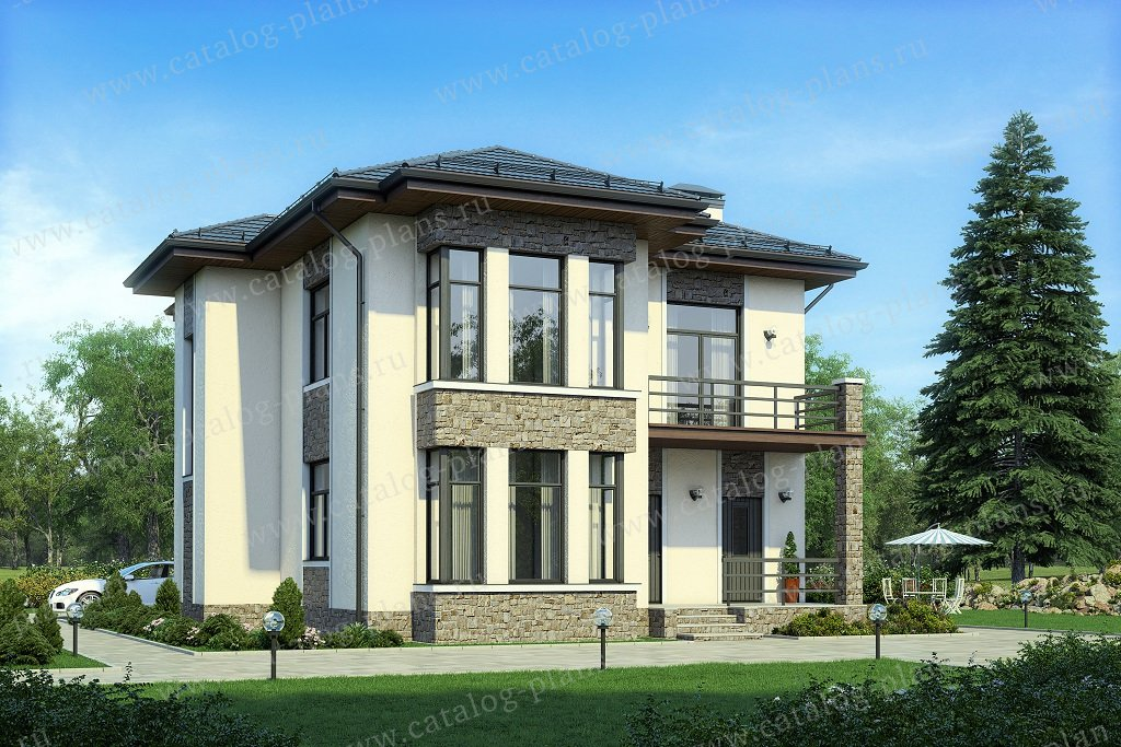Проект жилой дом #58-76A материал - газобетон, стиль современный