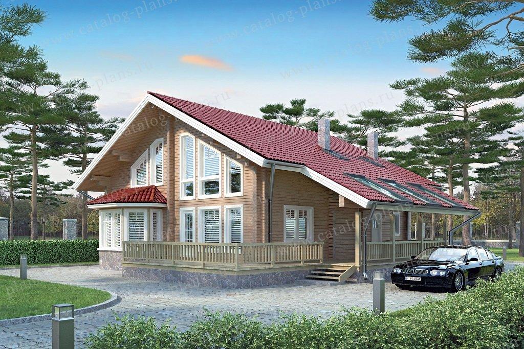 Проект жилой дом #11-03A материал - бревно, стиль современный
