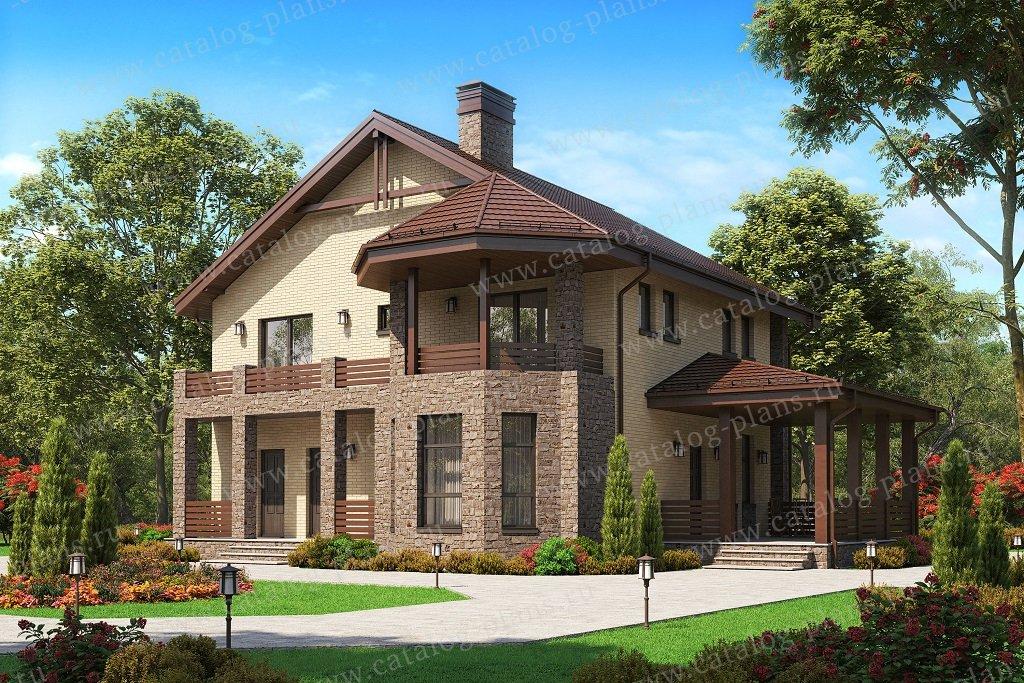 Проект жилой дом #57-34BL материал - газобетон, стиль