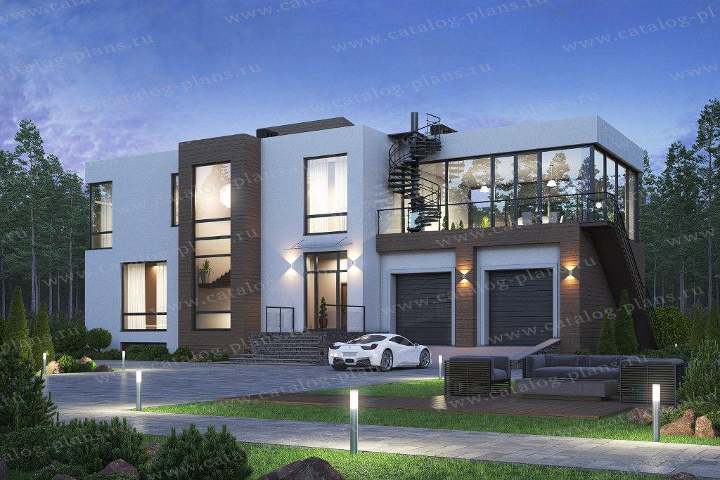 Проект жилой дом #40-86BL материал - кирпич, стиль хай-тек