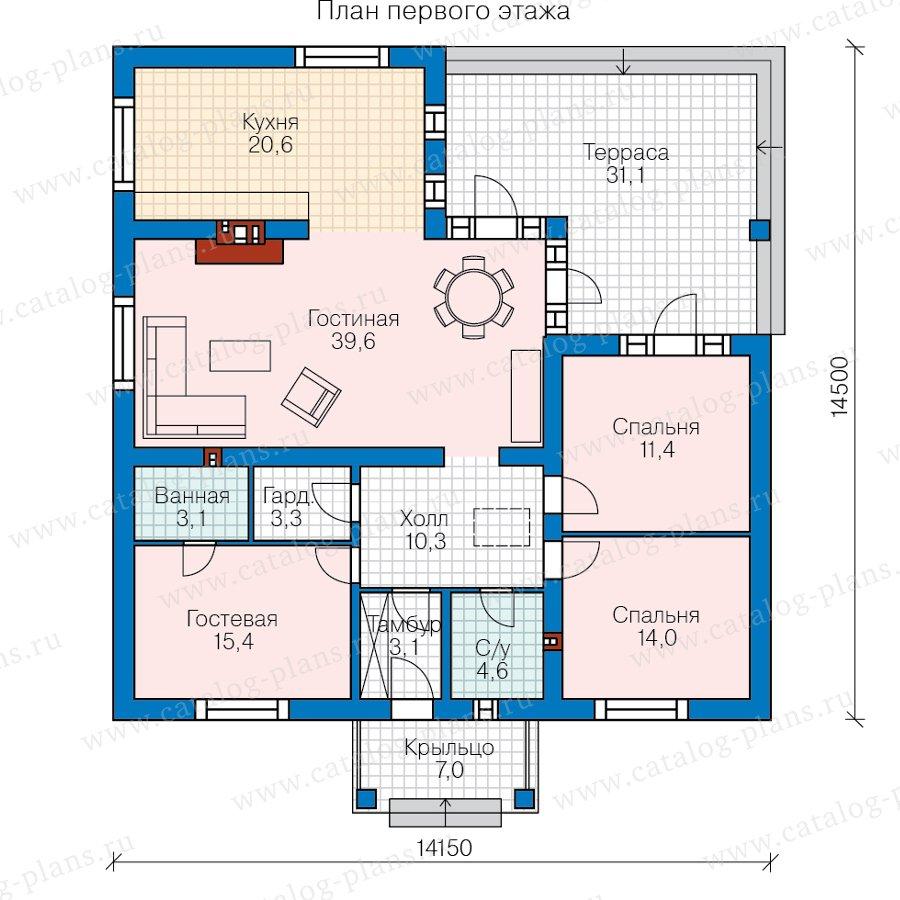 План 1-этажа проекта 62-25
