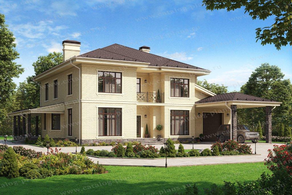 Проект жилой дом #45-06L материал - кирпич, стиль европейский