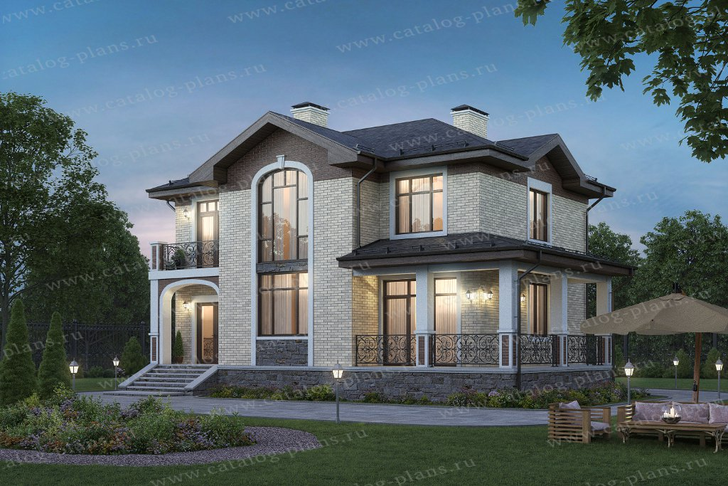 Проект жилой дом #45-09GL материал - газобетон, стиль