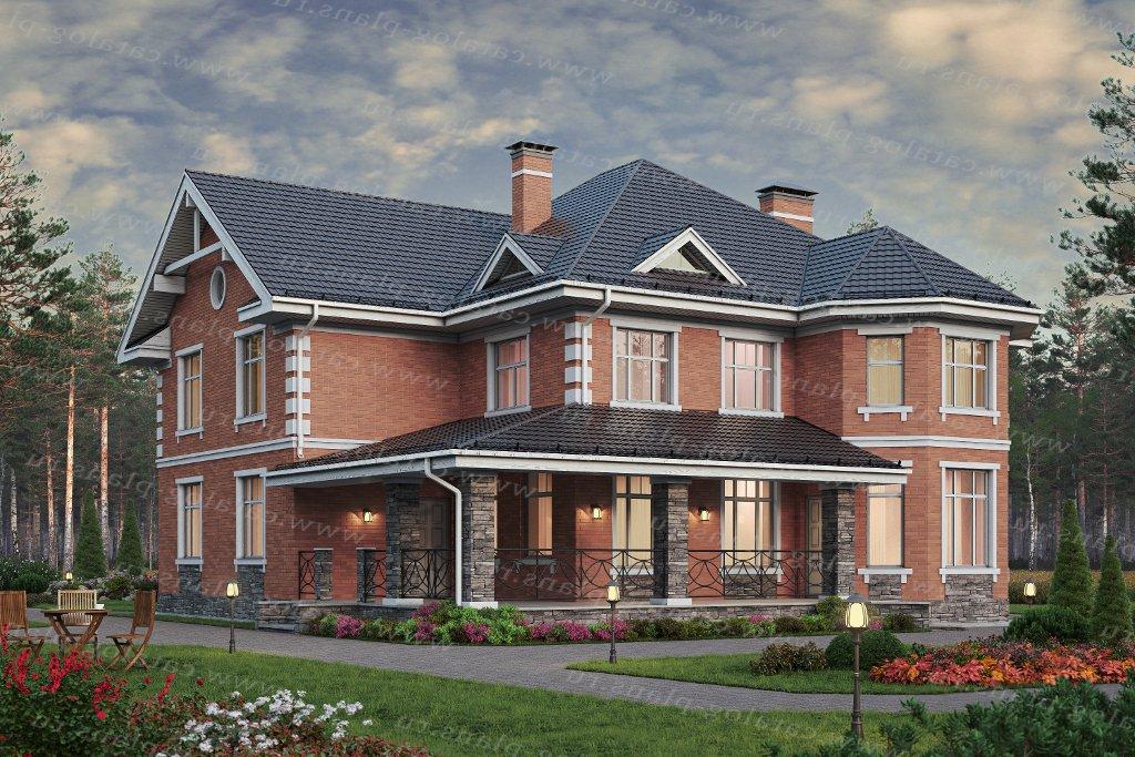 Проект жилой дом #57-74H материал - кирпич, стиль европейский