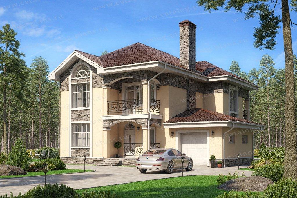 Проект жилой дом #45-10 материал - кирпич, стиль европейский
