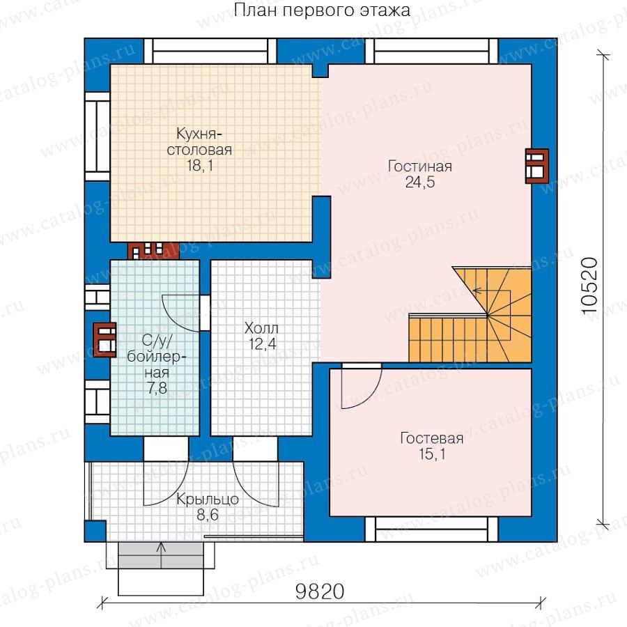 План 1-этажа проекта 58-15AK