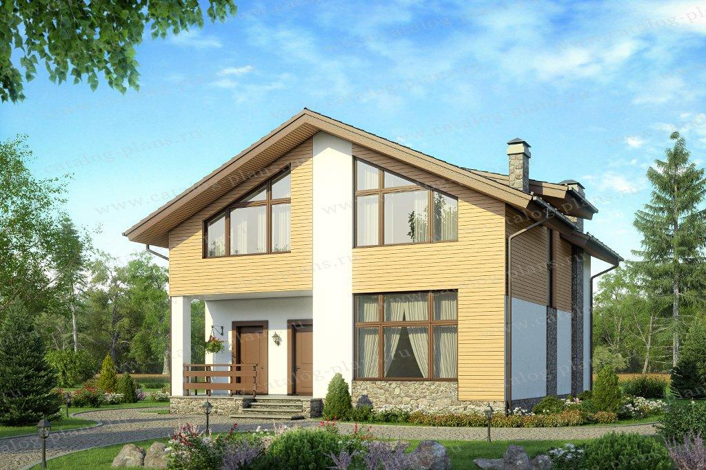 Проект жилой дом #58-15AK материал - кирпич, стиль современный