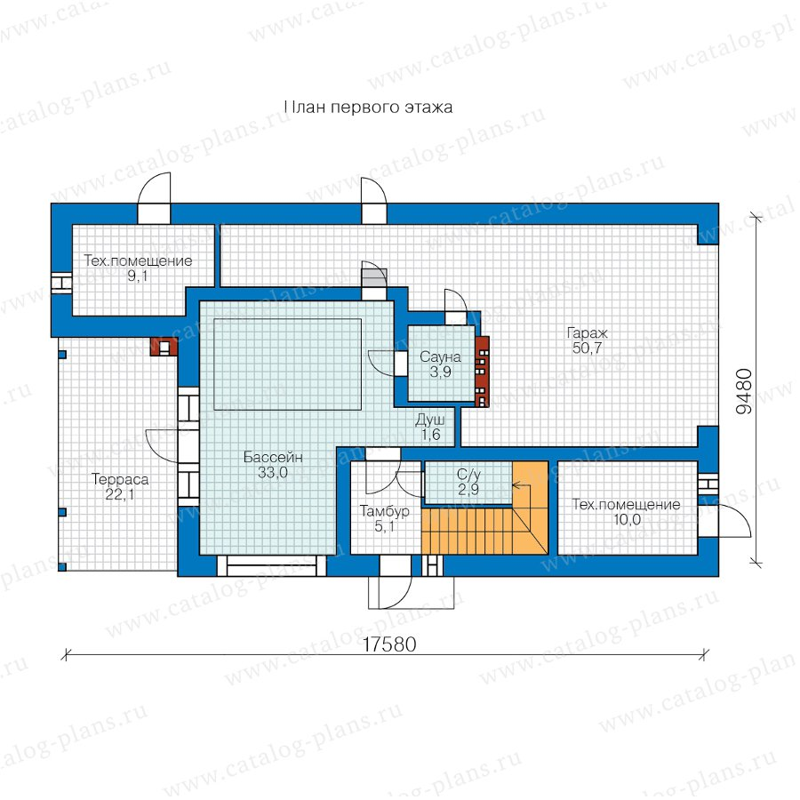 План 1-этажа проекта 90-44