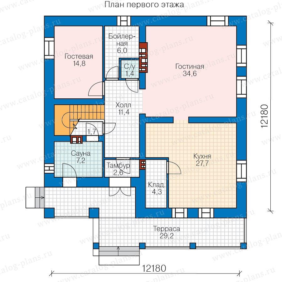 План 1-этажа проекта 58-19AKL1