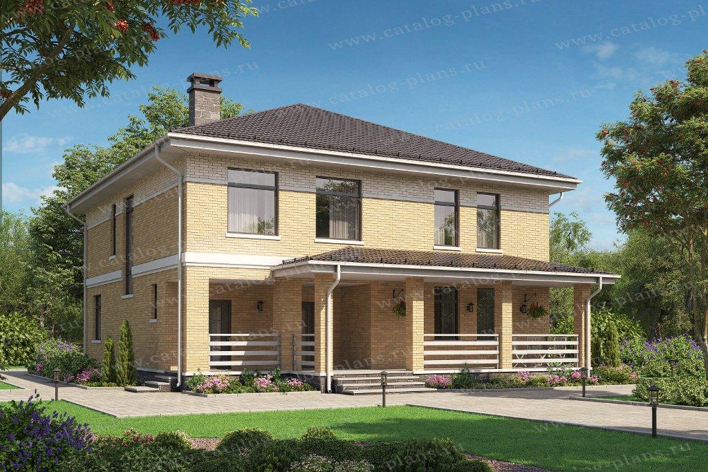 Проект жилой дом #58-19AKL1 материал - кирпич, стиль европейский