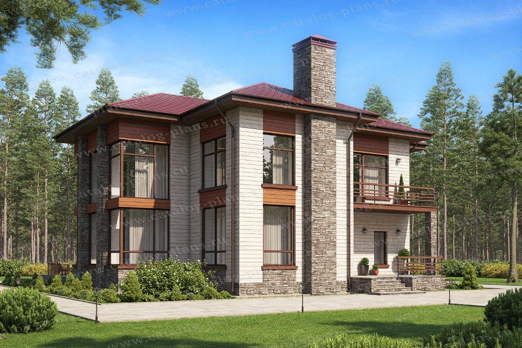 Проект жилой дом #48-24Кедрал материал - кирпич, стиль современный