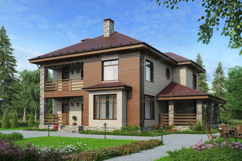 Проект жилой дом #57-39Кедрал материал - газобетон, стиль европейский