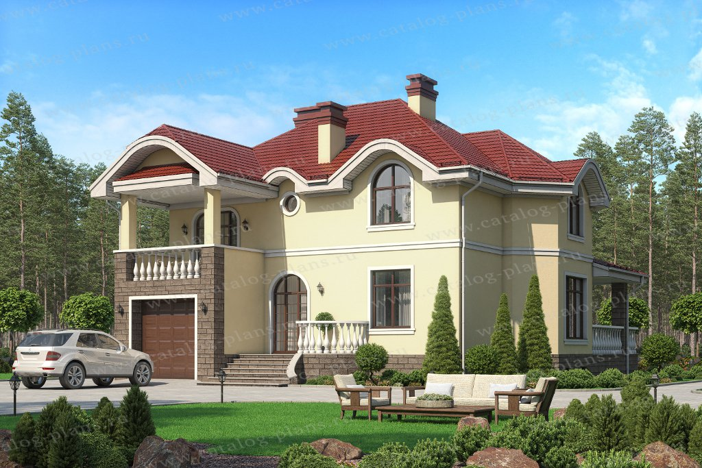 Проект жилой дом #45-12 материал - кирпич, стиль