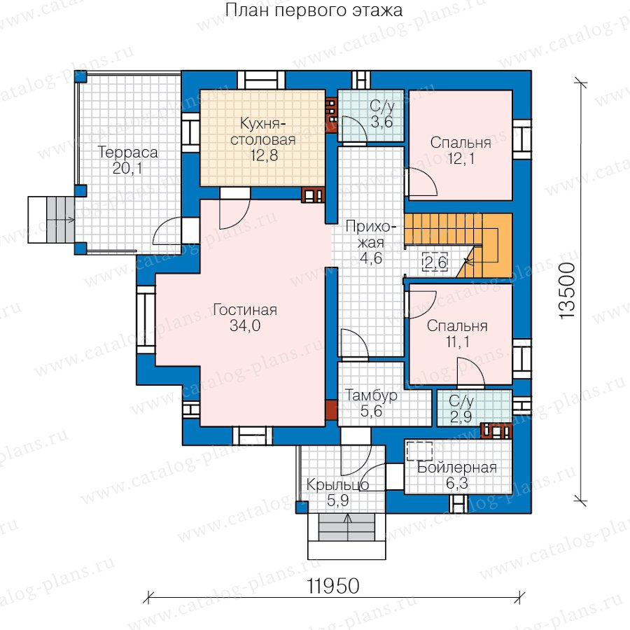 План 1-этажа проекта 57-46BL