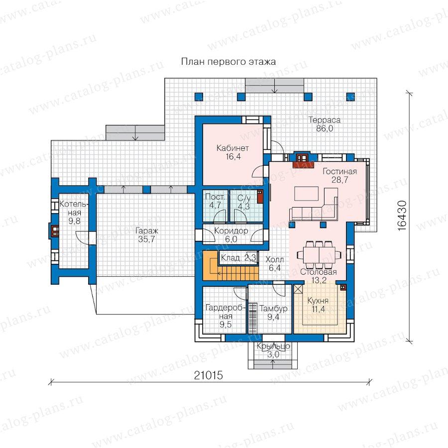 План 1-этажа проекта 45-21