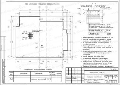 Схема расположения фундаментной плиты