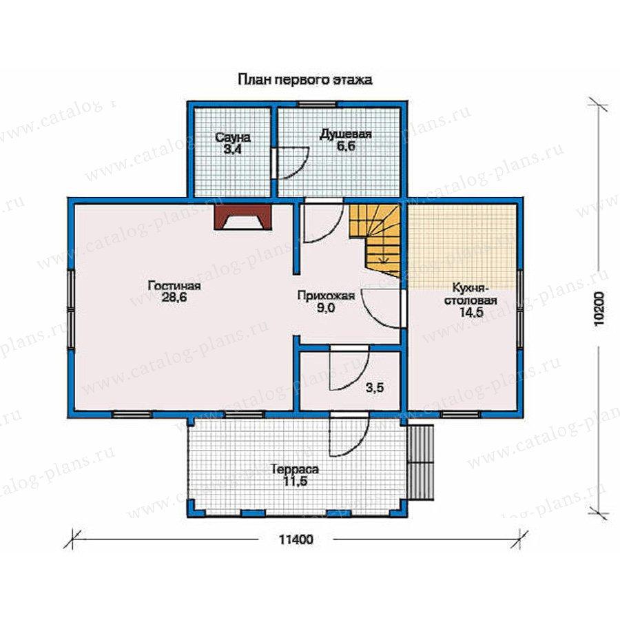 План 1-этажа проекта 10-22