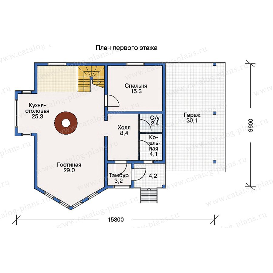 План 1-этажа проекта 10-25