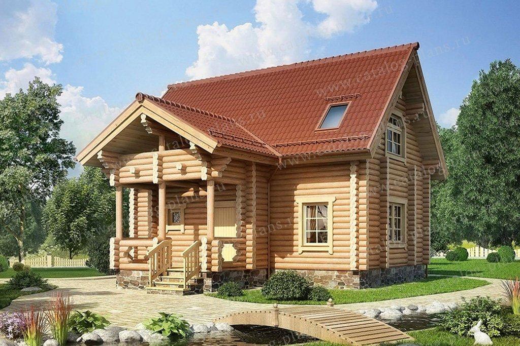 Проект жилой дом #10-44 материал - дерево, стиль Русская усадьба