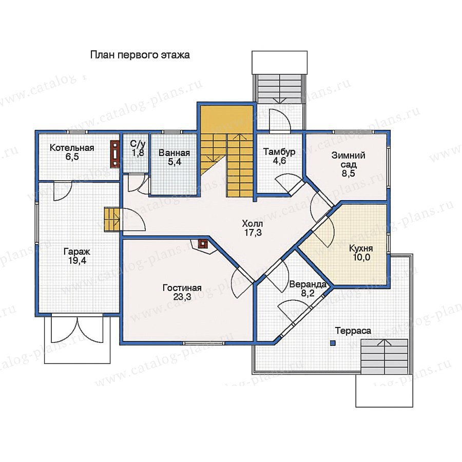 План 1-этажа проекта 10-53