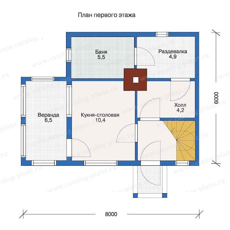 План 1-этажа проекта 10-63
