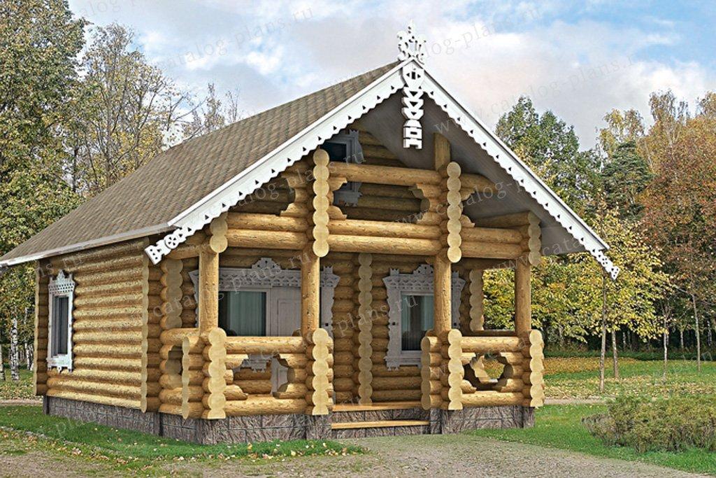 Проект баня #10-61 материал - дерево, стиль Русская усадьба