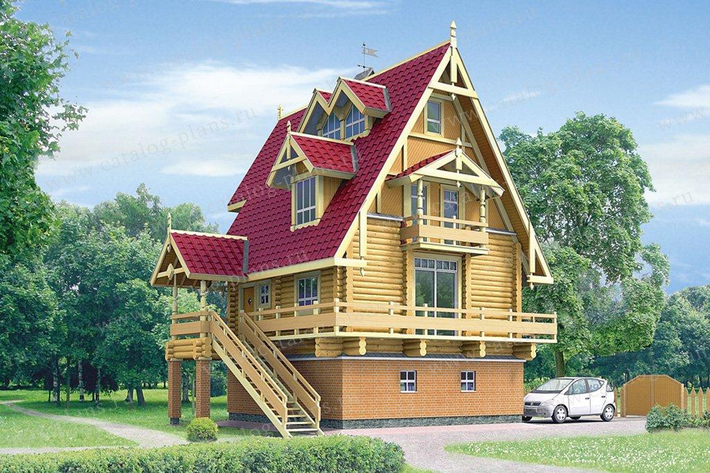 Проект жилой дом #10-40 материал - комбинированный, стиль Русская усадьба
