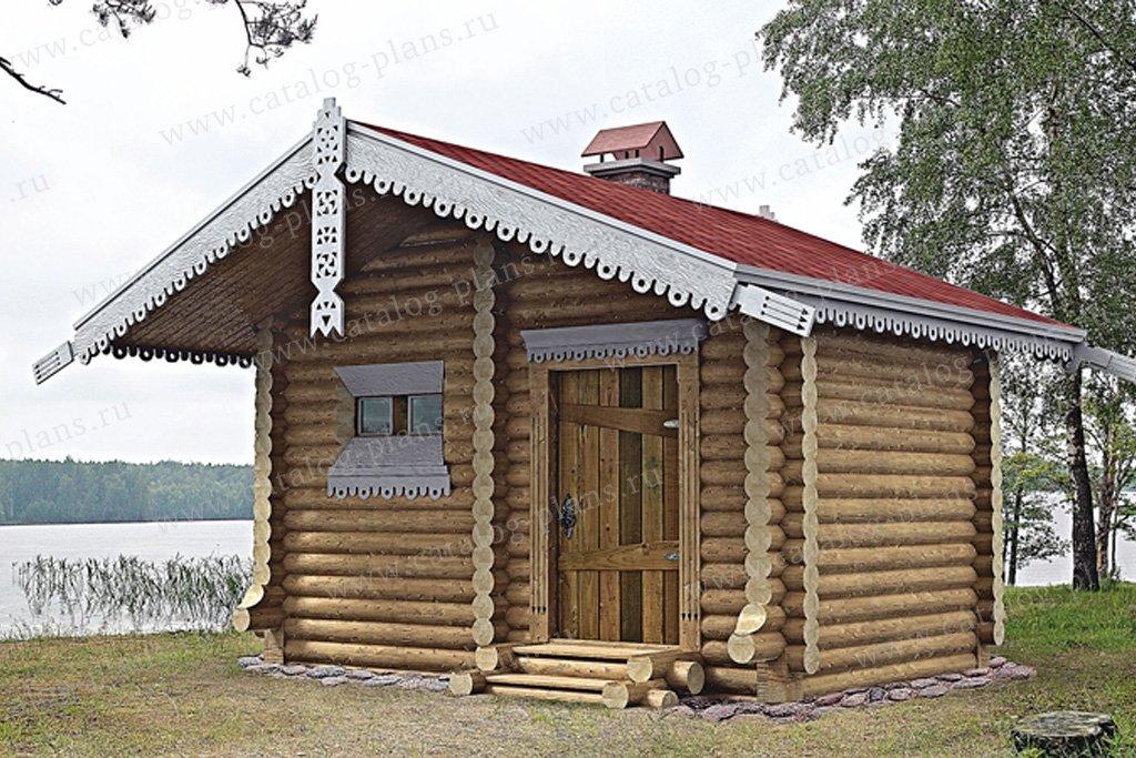 Проект баня #10-62 материал - дерево, стиль Русская усадьба