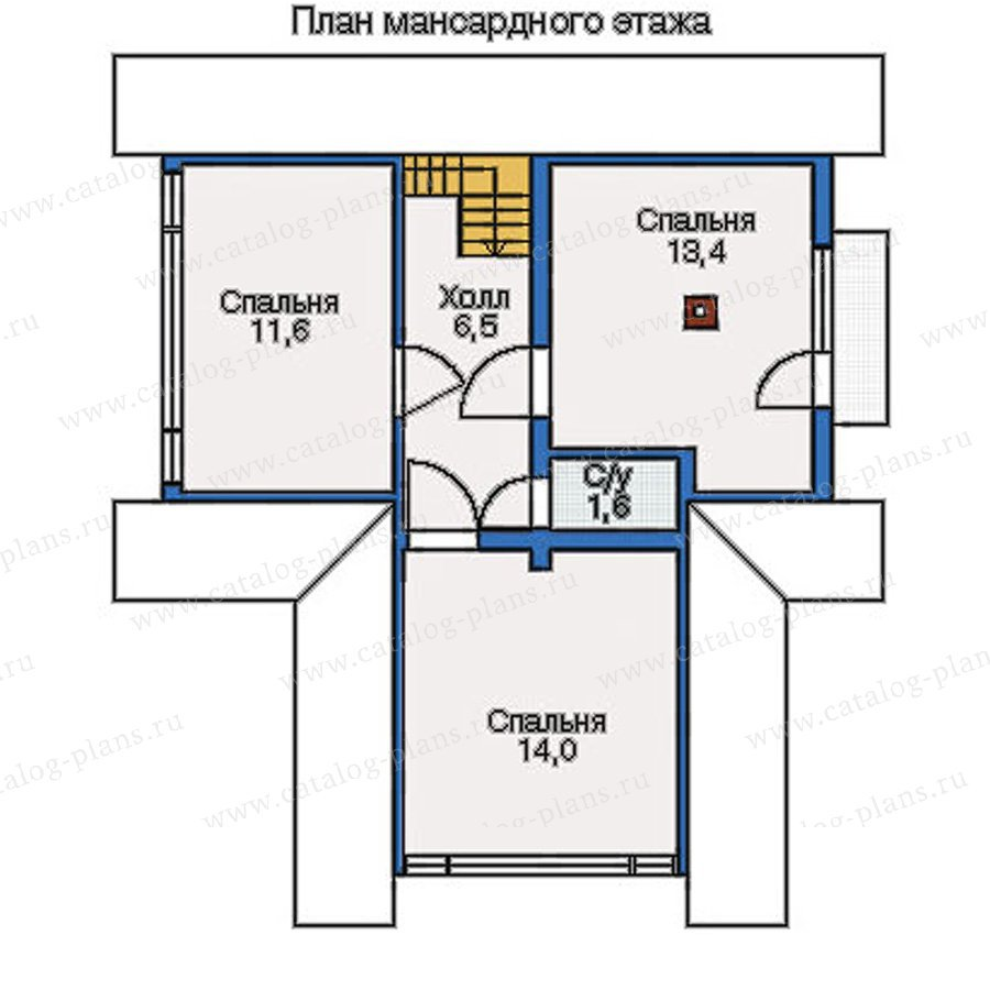 План 2-этажа проекта 10-80