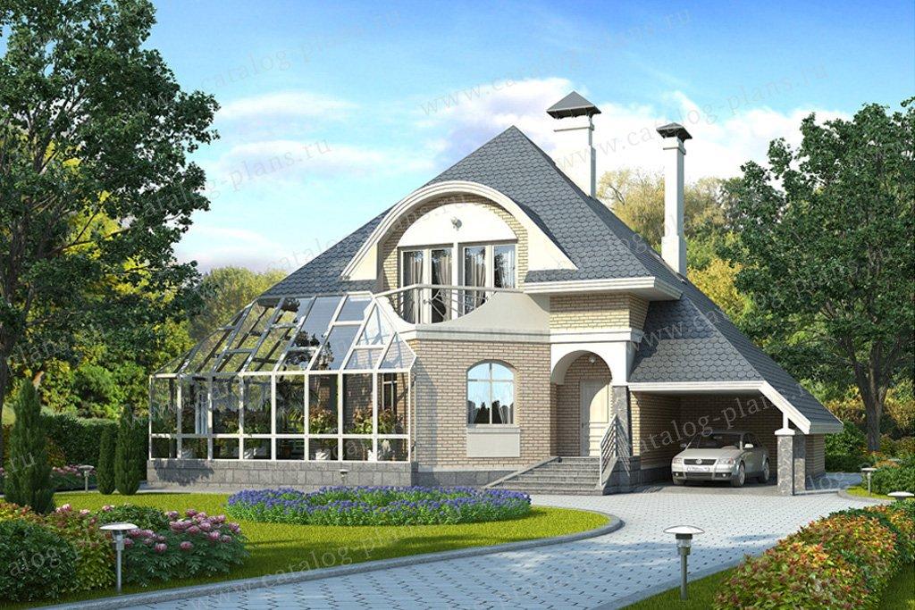 Проект жилой дом #49-08 материал - кирпич, стиль модерн