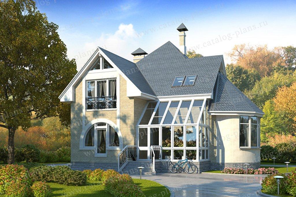 Проект жилой дом #49-10 материал - кирпич, стиль модерн