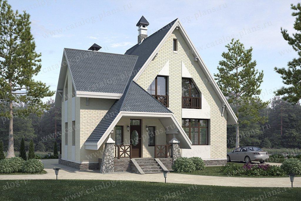 Проект жилой дом #49-19 материал - кирпич, стиль европейский